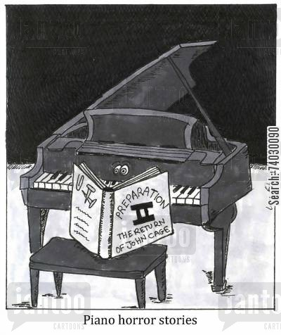 contemporary cartoon humor: Piano horror stories