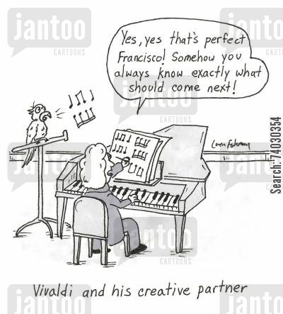 bird cartoon humor: Vivaldi and his creative partner