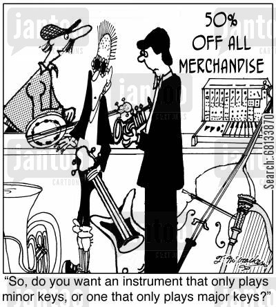 irregular merchandise cartoon humor:  'So, do you want an instrument that only plays minor keys, or one that only plays major keys?'