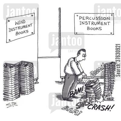 bang cartoon humor: Percussion Instrument Books.
