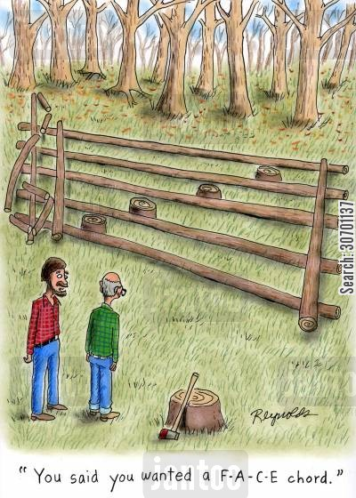 cutting wood cartoon humor: 'You said you wanted a F-A-C-E chord.'