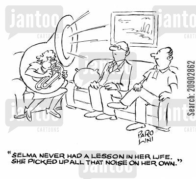 tone deaf cartoon humor: 'Selma never had a lesson in her life. She picked up all that noise on her own.'