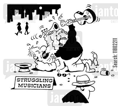street fighting cartoon humor: Struggling Musicians.