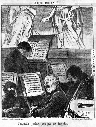 musician cartoon humor: Musical Sketches - The orchestra during the performance of a tragedy