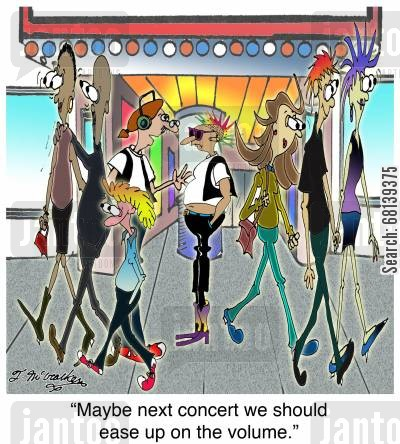audio technician cartoon humor: 'Maybe next concert we should ease up on the volume.'