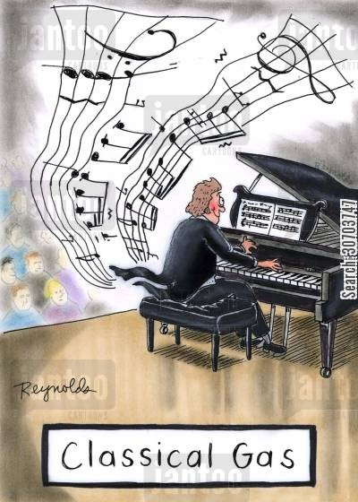 clave cartoon humor: Classical gas - musician farting music