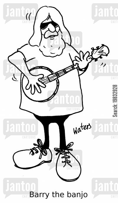 playing banjo cartoon humor: Barry the banjo.