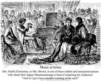 performance cartoon humor: Victorian recital evening.