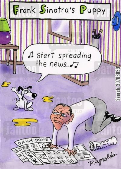 news papers cartoon humor: 'Frank Sinatra's Puppy.'