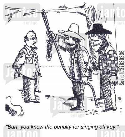 lynch cartoon humor: 'Bart, you know the penalty for singing off key,'