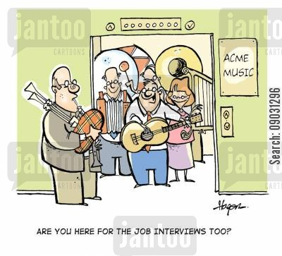 elevator music cartoon humor: 'Are you here for the job interviews too?'