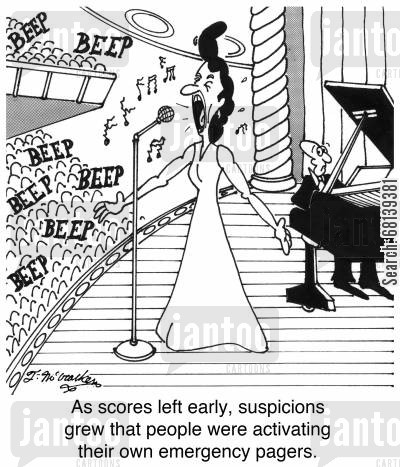 diva cartoon humor: As scores left early, suspicions grew that people were activating their own emergency pagers.
