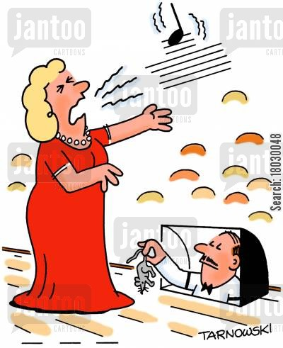 audience cartoon humor: Opera singer screaming at a mouse to get that high pitch.
