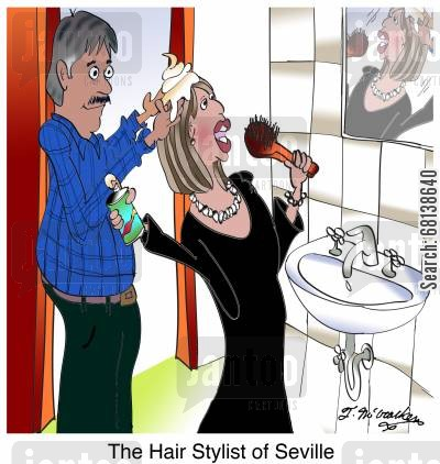 dressing room cartoon humor: The Hair Stylist of Seville