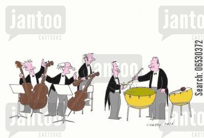 orchestra cartoon humor: Break for the orchestra.