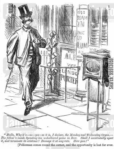organ grinder cartoon humor: Man contemplates breaking an organ grinder's instrument whilst he is drinking