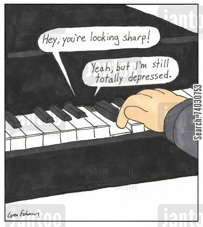 pressing cartoon humor: A piano key is totally depressed