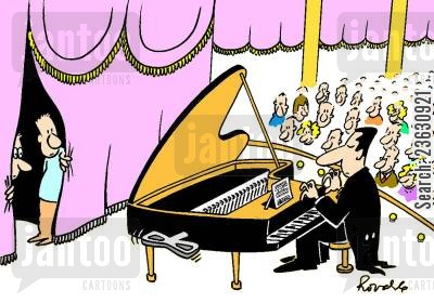 pianists cartoon humor: Concert pianist with a clockwork piano.