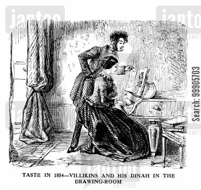 piano teacher cartoon humor: Taste in 1854 - Villikins and his Dinah in the Drawing Room