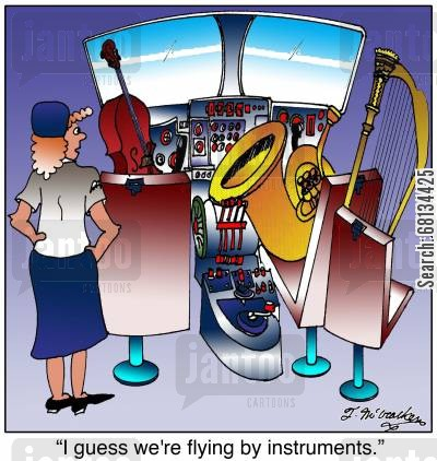 stewardesses cartoon humor:  'I guess we're flying by instruments.'