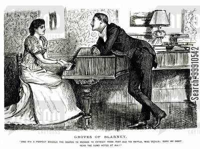 groves of blarney cartoon humor: A lady playing piano and a man talking to her