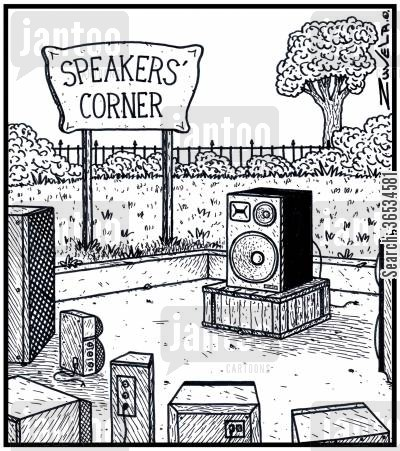 music player cartoon humor: Speaker's Corner.
