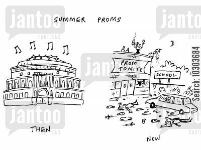 promenade concert cartoon humor: Summer Proms - then, now.