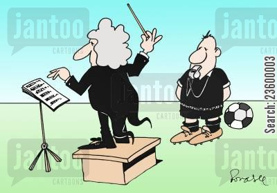 choir cartoon humor: Conductor and the Referee Choir.