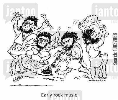 rock musician cartoon humor: Early rock music