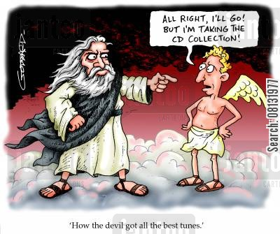 banished cartoon humor: 'How the devil got all the best tunes.'
