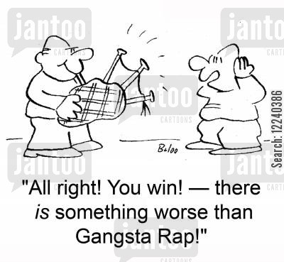 rapping cartoon humor: 'All right! You Win! -- there IS something worse than Gangsta Rap!'