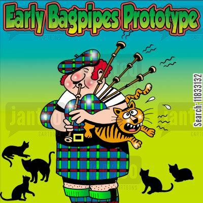 highlands cartoon humor: Early Bagpipes Prototype.