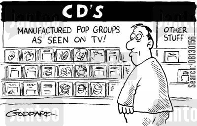 pop group cartoon humor: CD shop full of manufactured pop,