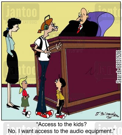 sound technician cartoon humor: 'Access to the kids? No. I want access to the audio equipment.'