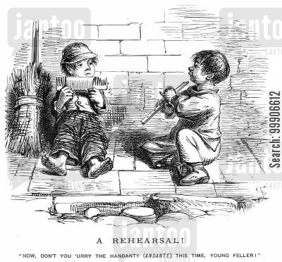 rehearsal cartoon humor: Two boys rehearsing,