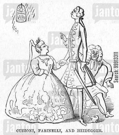 entertainers cartoon humor: John James Heidegger, masquerade impresario, and Italian opera singers