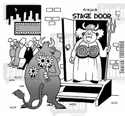 stage door cartoon humor: Cow at stage door has bunch of flowers for large opera singer.