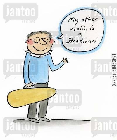biddulph cartoon humor: My other violin is a Stradivari