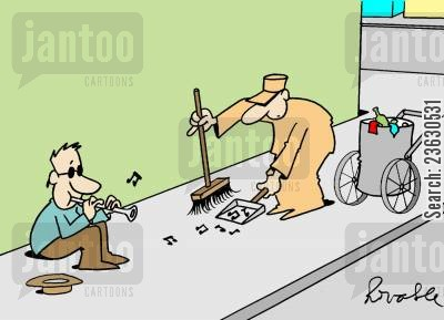 buskers cartoon humor: Street sweeper cleaning up music.