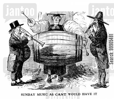 lord palmerston cartoon humor: Religious Controversy - Ban on Sunday Bands