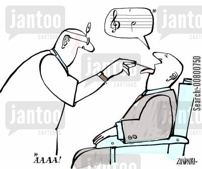 doctors practice cartoon humor: Man singing note at doctor.