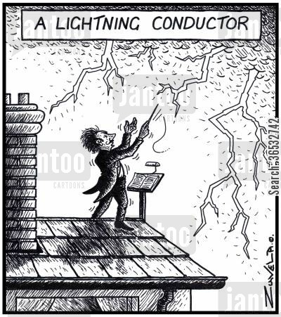 conductors cartoon humor: A Lightning Conductor.