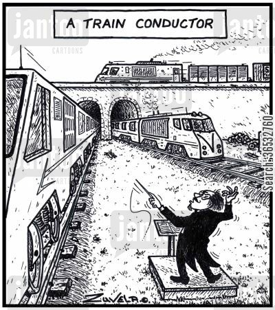 train line cartoon humor: A Train Conductor.
