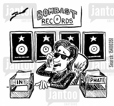 out tray cartoon humor: Bombast records 'In' tray and 'Phat' tray