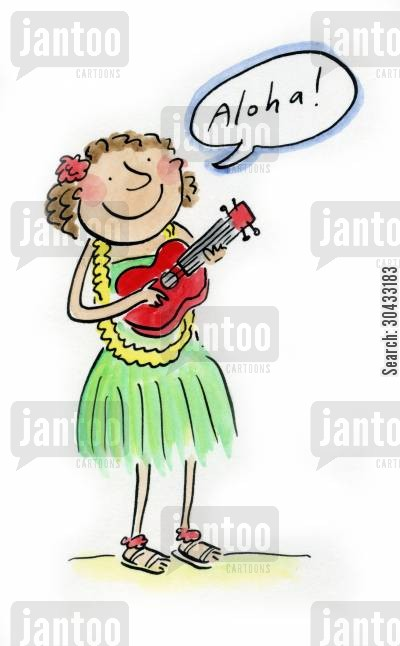 musicians cartoon humor: Aloha!