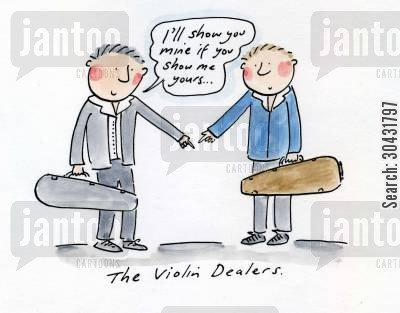 primavera cartoon humor: The Violin Dealers.