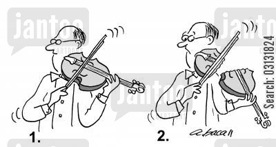 music teacher cartoon humor: Playing violin.