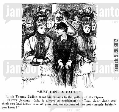 theater cartoon humor: Women's Bonnets Block the Audience View