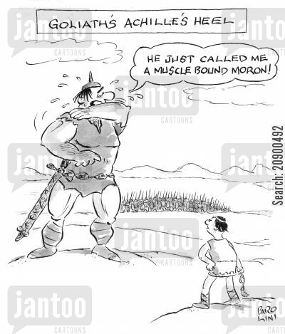 david and goliath cartoon humor: 'Goliath's Achilles Heel.'