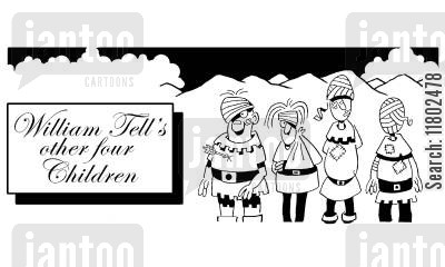 party tricks cartoon humor: WIlliam Tell's other four children.